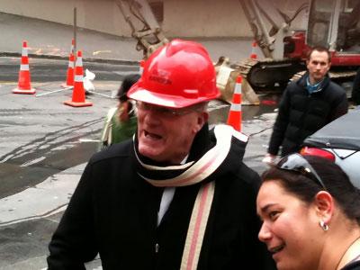 Pete Roe wearing the Chief Fire Warden's hat